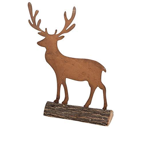 KLP Hirsch auf Holz Sockel Elch Rentier REH Bock Deko Tier Figur Skulptur Statue -