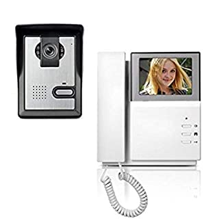 Amocam 4.3 Clear LCD Monitor Wired Video Intercom Doorbell System Video Door Phone Bell Kits IR Night Vision Camera Door Bell Intercom Doorphone Telephone style by Amocam