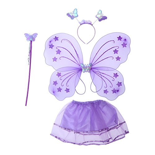 LUOEM Kinder Mädchen Fee Kostüme Prinzessin Schmetterlingsflügel Stirnband Zauberstab Tutu Rock Party Kostüm 4-teiliges Set (Lila) (Fairy Prinzessin Kostüm Kinder)