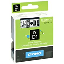 Dymo 45803 D1-Etiketten (Selbstklebend, für den Drucker LabelManager, 19 mm x 7 m Rolle) schwarz auf weiß