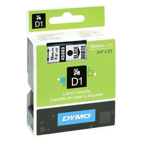 Dymo S0720830 D1-Etiketten (Selbstklebend, für den Drucker LabelManager, 19 mm x 7 m Rolle) schwarz auf weiß
