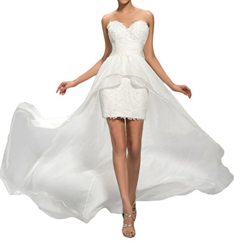 Sunvary Elegant Herzform Spitze Hi-Lo Chiffon Abendkleider Partykleider Ballkleider-36-Weiss