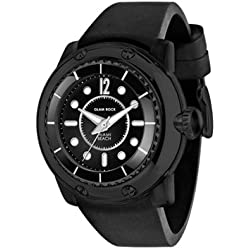 Glam Rock Watches Unisex Quartz Watch with Black Dial Analogue Display and Black Leather Strap 0.96.2719