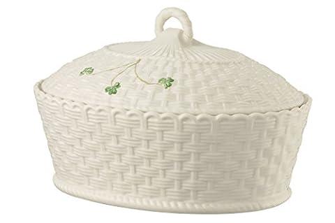 Belleek Shamrock Oval Covered Dish,