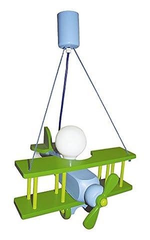 Waldi Leuchten Lampe suspendue Avion Petit, vert/bleu baleine–90114.0