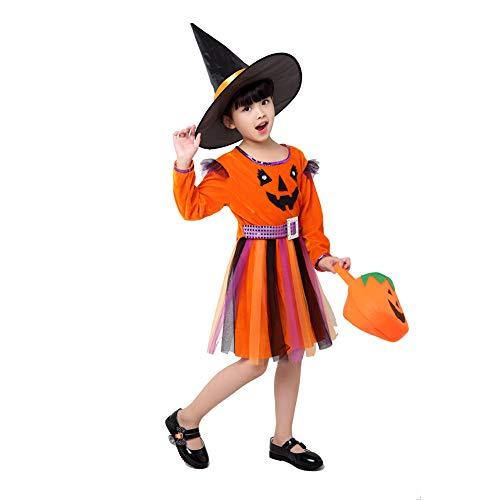 Trifycore Mädchen-Hexe-Kostüm-Klassiker Halloween Fancy Dress Up Outfit mit Hut Handtasche für Halloween Kostüme Märchen Korsett-Kleid-Partei 150cm orange 1Set