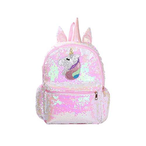 Mochila Rosa Brillante con diseño de Unicornio y Lentejuelas para niñas Rosa Rosa 24 * 10 * 34cm