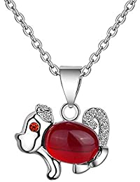 5b44abe0e98f Purmy Mujer Collar Plateado Colgante Rojo Agate Modeloo Animal Conejito  Forma Diseño Linda Estilo Plata 45X45X1