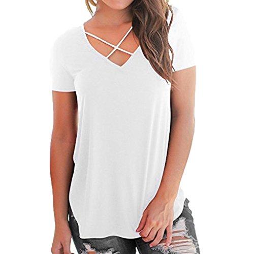 SOMESUN Damen T-Shirt V-Ausschnitt mit Schnürung Vorne Oberteil Tops Kurzarm Bluse Patchwork Sommer Kurzarm T-Shirt V-Ausschnitt mit Verband Tops (M, - Pack Frauen Weißes T-shirt