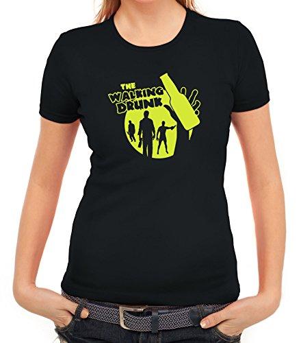 Junggesellenabschieds JGA Hochzeit Damen T-Shirt Bottle The Walking Drunk Schwarz