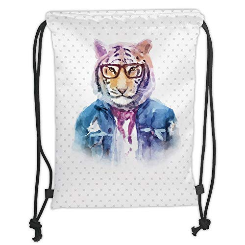 OQUYCZ Drawstring Sack Backpacks Bags,Quirky Decor,Intellectual Tiger with Scarf Torn Denim Jacket and Glasses Watercolor Artwork Decorative,Multicolor Soft Satin,5 Liter Capacity,Adjustable S Neon Denim Jacket