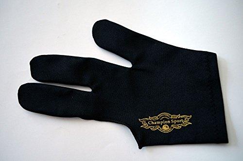 Champion Sport Schwarz Links Hand Billard Handschuhe für Pool Queues–auf der Linken Seite Tragen, kaufen Drei Get One Free (One Size Passend für die Meisten (S-L))
