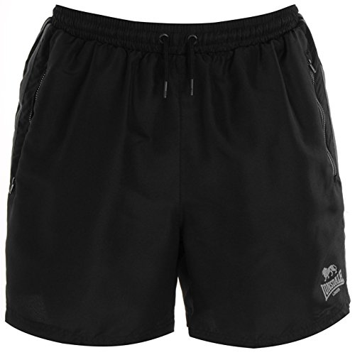 Lonsdale Two Stripe Woven Herren Shorts Sporthose Kurze Hose Elastische Bund Black/Charcoal XXL (Drawstring Denim-shorts)