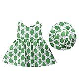 LEXUPE Kleinkind Kind Baby mädchen dot gedruckt Bogen Prinzessin Kleid + Hut Outfits Set Kleidung(Grün,90/8)
