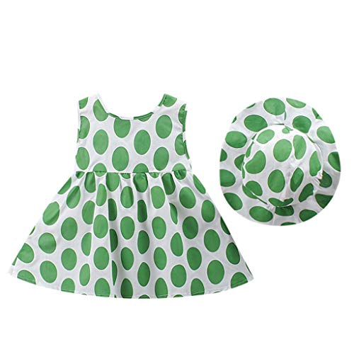 nd Baby Mädchen Sommer Punkt Gedruckt Rock Bogen Prinzessin Kleid Kinder Sleevese + Fischer Hut Set Komfortable Freizeitkleidung ()