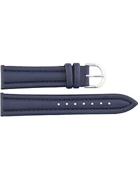 Armbanduhr lederarmband in Dunkelblau Polyurethan - 20mm - - Schnalle in Silber Edelstahl - B20BluItr76S