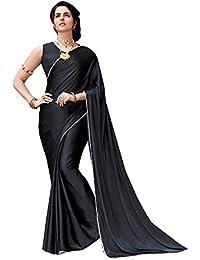 Shaily Black Satin Silk Lace Bordered Saree