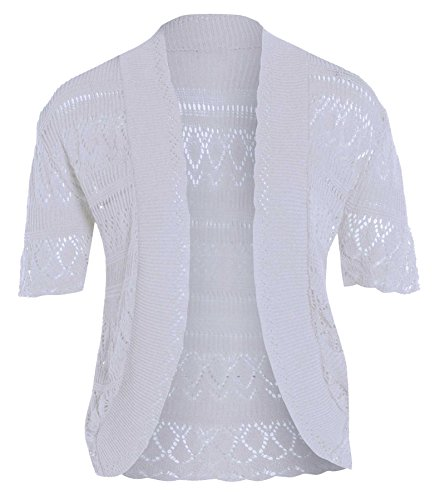 Chocolate Pickle ® Femmes résille Bolero Cardigans white