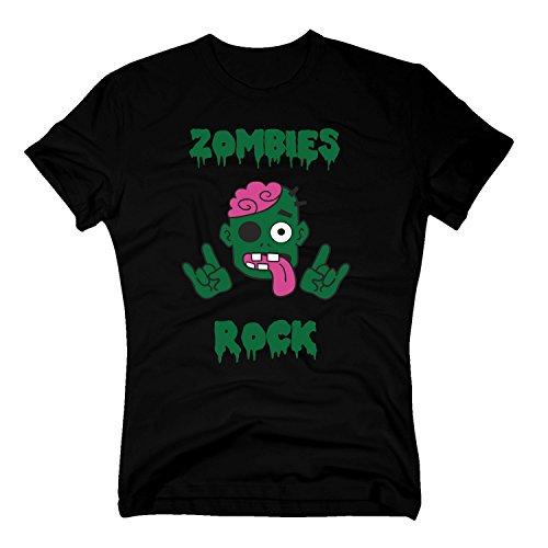 T-Shirt Halloween Zombies Rock Hands Hände Allhalloween Party Kostüm Zombie, S, ()