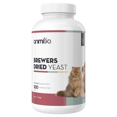 Animigo Getrocknete Bierhefe Tabletten 500 Kautabletten Haut & Fell Kautabletten für Katzen & Hunde