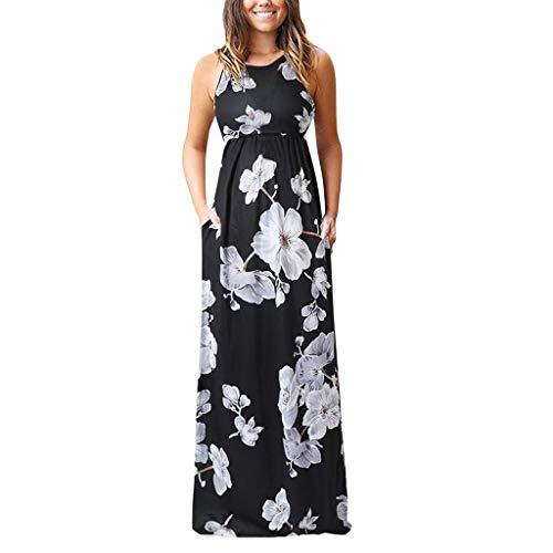 Zegeey Damen Kleid Sommer Kurzarm Rundhals Einfarbig Blumenkleid Maxi Kleid A-Linie Kleider Vintage Elegant LäSsige Kleidung Basic Casual Strandkleider (W12-Schwarz,EU-40/CN-L)