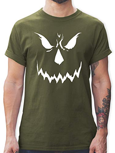 Halloween - Scary Smile Halloween Kostüm - M - Army Grün - L190 - Herren T-Shirt und Männer - Scream Face Kostüm
