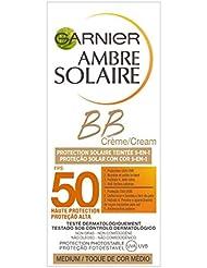 Garnier Ambre Solaire BB Crème Protection Solaire 5-en-1 Visage et Decolleté Medium FPS50 50 ml