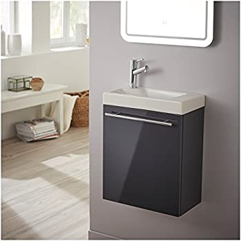pack meuble lave mains gris anthracite laqu brillant bricolage. Black Bedroom Furniture Sets. Home Design Ideas