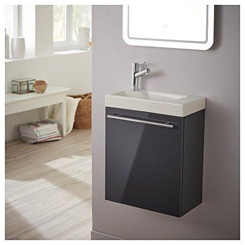 Pack meuble lave-mains gris anthracite laqué brillant