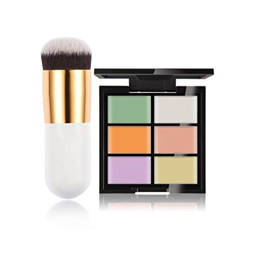 Gracelaza 1 Pcs Pinceaux Maquillage Trousse, 6 Couleurs Palette de Maquillage Correcteur Camouflage Crème Cosmétique Set, #1