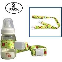 Universal Baby Bottle Safety Strap Belt, HULISEN Baby Sippy Cup Holder Stop Drop for Highchair Stroller Pram,Shopping Basket (Green)