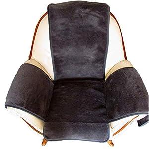 Alpenwolle Sesselschoner mit Kaschmir Überwurf Sesselauflage Island mit Taschen anthrazit/schwarz