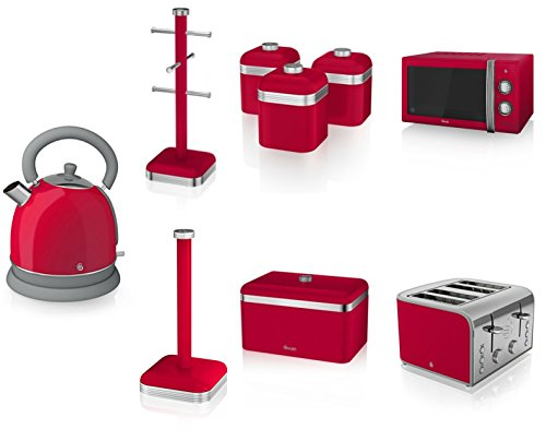 Swan Kitchen Appliance Retro Set - Red Manual Microwave, 1.8l Dome Kettle, 4 Slice Toaster, Retro Breadbin And 3 Canisters Set, 6 Mug Tree And Kitchen Roll Stand Towel Pole