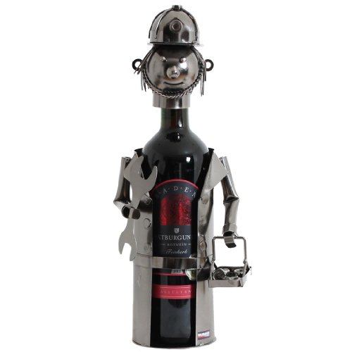BRUBAKER Flaschenhalter Klempner Metall Skulptur Geschenk