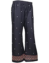 IndiStar Black Rayon Embroidered Trendy And Stylish Pallazo Pant For Women