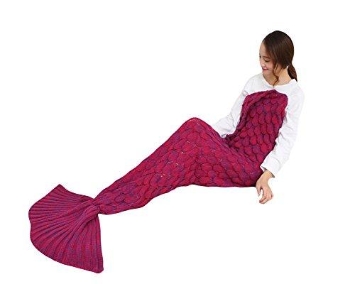 SaiDeng Meerjungfrau Schwanz Flosse Decke Handgemachte Gestrickte Schlafsack Wohnzimmer Kuscheldecke Decke Rose 147