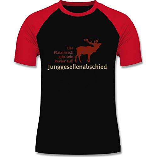 JGA Junggesellenabschied - Platzhirsch - zweifarbiges Baseballshirt für Männer Schwarz/Rot