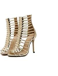 Botas frescas Gladiadores 11 cm Estilete Hueco romano De tacones altos Sandalias Zapatos De Vestir Mujer Moda Dedo del pie puntiagudo Peep Toe Cremallera Hueco romano Sandalias Zapatos de la Corte Zap , gold , 37