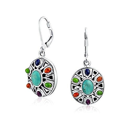 South Western Style Multicolor Edelstein runde Scheibe Medaillon baumeln Ohrringe Leverback Für Frauen Sterling ()