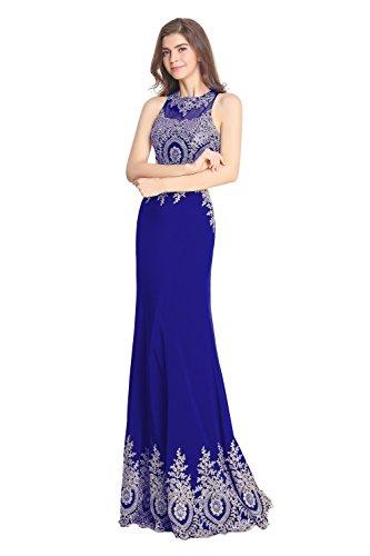 Fanciest Damen Embroidery Abendkleider Ballkleid Two Pieces Heimkehr Gowns Lang Royal Blue