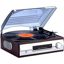 Bigben Interactive TD012 tocadisco - Tocadiscos (Corriente alterna, Marrón, Metálico)