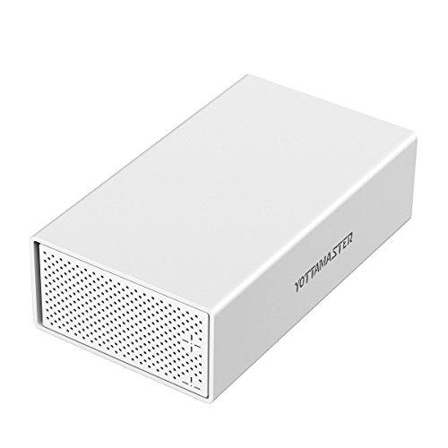 Yottamaster Aluminiumlegierung 3.5 Zoll USB3.0 Festplattenlaufwerk RAID Einschließung 2 x 10TB Schreibtisch Unterstützung SATA3.0 u. UASP 2 Bucht -Silber -
