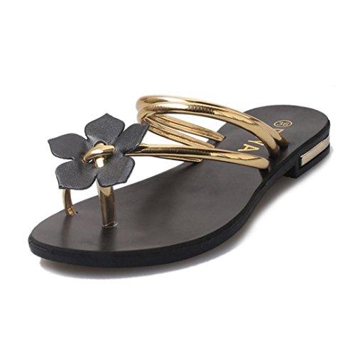 Sandals Damen Sommer Btruely Strand Schuhe Böhmen Hausschuhe Mädchen Schuhe Frauen Flat Sandalen Blumenwebart Schuhe Flip Flops Schuhe (38, Gold) (Heel Flats, High)