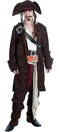 Herren 11 Piece Deluxe Rum Schmuggler Piraten Bösewicht Halloween Kostüm Kleid Outfit M-XL - Schwarz, Large (Herren Rum Piraten Kostüm)