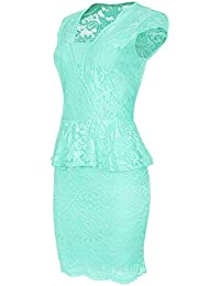 Laeticia Dreams Damen Kleid aus Spitze Kurzarm Knielang Schößchen S M L XL