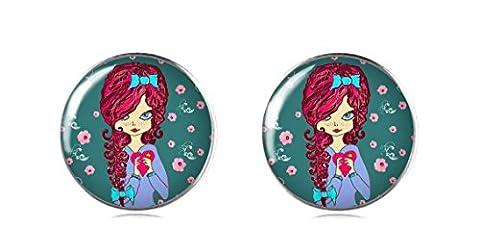 Tizi Jewellery Puppe Handgemachte 925 Sterling Silber Ohrringe Ohrstecker 12 mm für Damen und Mädchen Geschenk perfekte oder Party