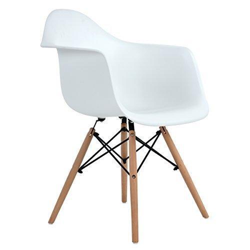 Ajie Retro Stuhl Weiße Sitzschale Mit Armlehnen Auf