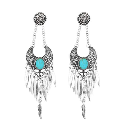Nativen Fringe (MNGGNM Boho Crescent Ohrringe Lange Anweisung Ohrringe Hippie Fringe Ohrringe Native Tribal Schmuck Quaste ethnischen Ohrringe)
