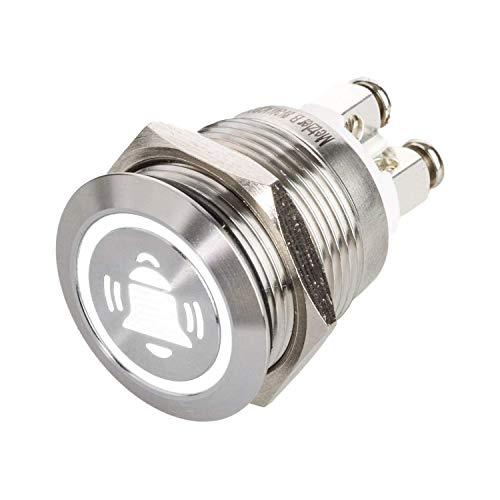 Metzler-Trade® LED Drucktaster mit Glocken-Symbol, Einbau Ø 19 mm flacher Edelstahl-Taster mit farbig beleuchtetem Glocken-Symbol und Schraubkontakten, wasserdicht IP67, AC/DC (Weiß)