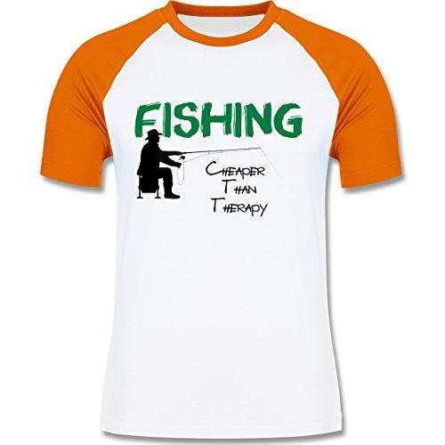 Angeln - Fishing - Cheaper Than Therapy - zweifarbiges Baseballshirt für Männer Weiß/Orange